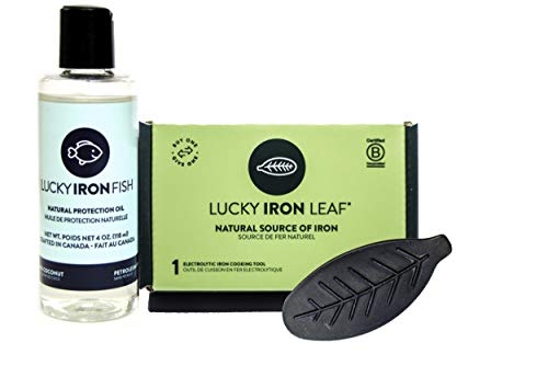 Original Lucky Iron Leaf ® 2-Piece Bundle - Includes - 1 Lucky Iron Leaf ® + 1 Lucky Iron Natural Protection Oil. Maintain Your Lucky Iron Leaf Cooking Tool with Our formulated Protection Oil.