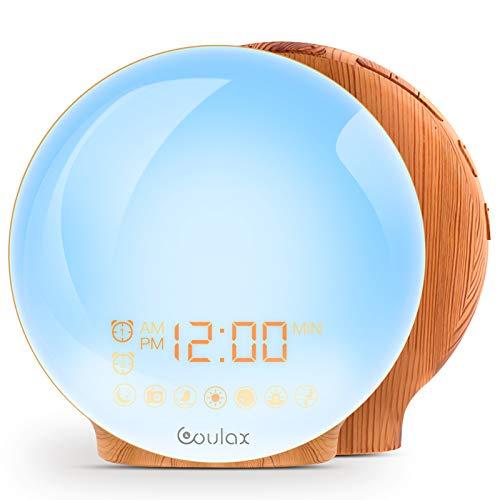 COULAX Wake Up Light Lichtwecker FM Radio Tageslichtwecker mit 2 Weckzeiten 7 Naturgeräuschen und Snooze Wake Up Licht Alarm Clock Holzoptik Tageslichtwecker Licht Wecker