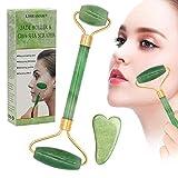 Jade Roller Massagegerät,Jade Roller und Gua Sha Set,Gesicht abnehmen und bewegen Massagegerät Werkzeug Gesichtsmassage Körperhaltung, Körperhaltung, Rücken, Körperhaut