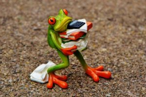 Frosch Akten Stress vermeiden frei Atmen