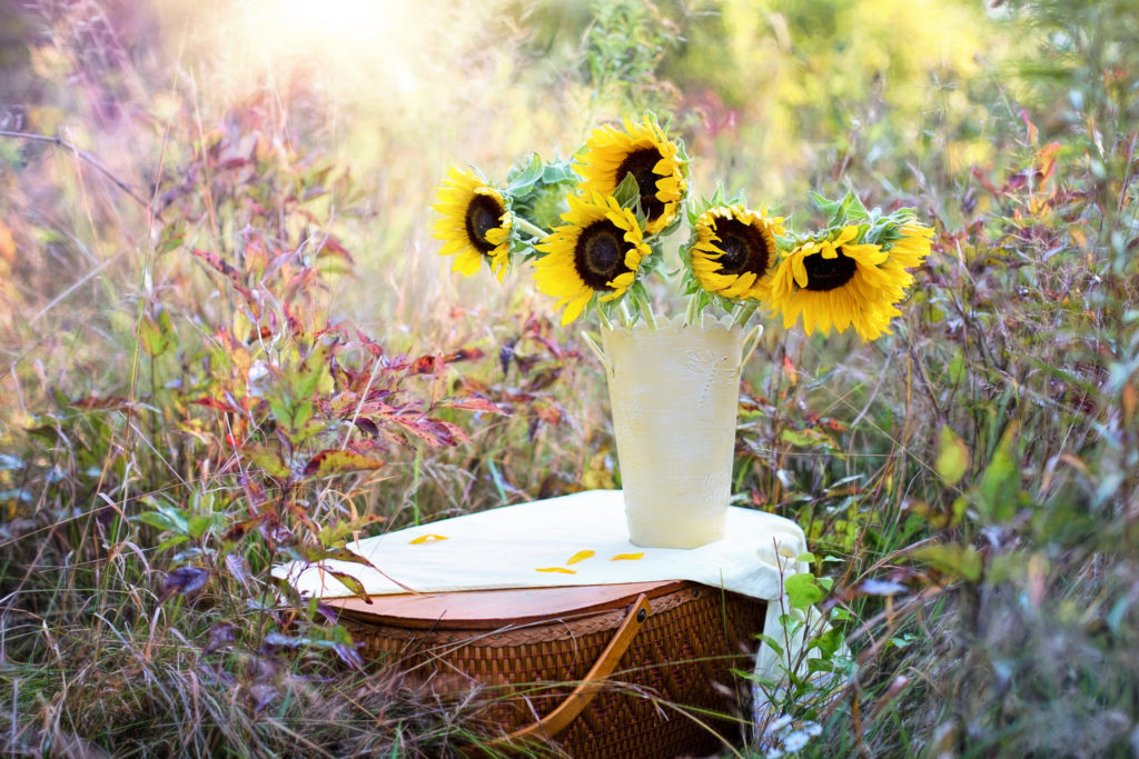 Sonnenblumen Vase Gesteck