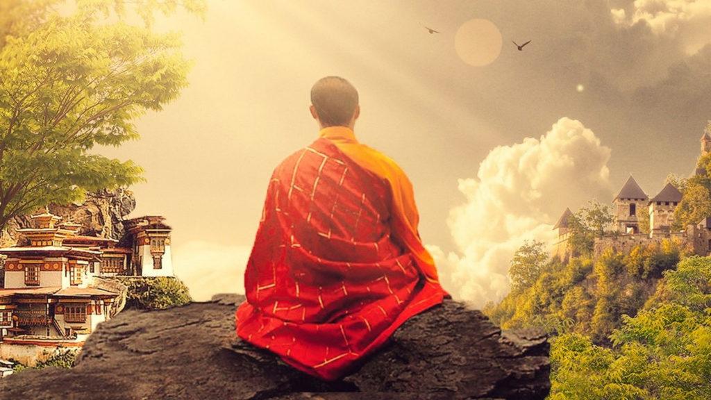 Mönch meditiert.