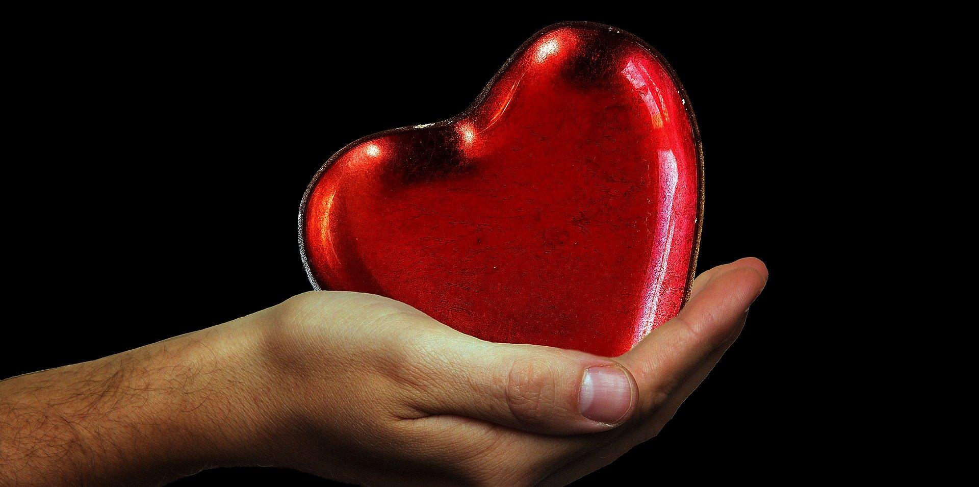 Eine Hand hält ein Herz.